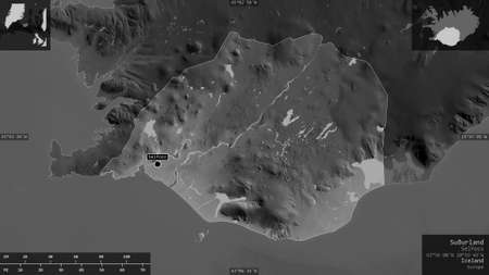 Southland, region of Iceland. Grayscaled map with lakes and rivers. Shape presented against its country area with informative overlays. 3D rendering
