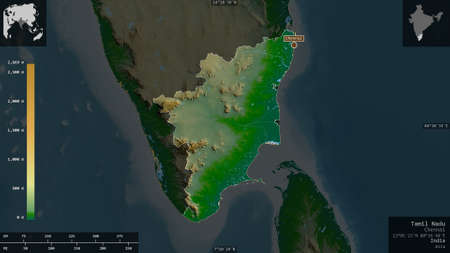 Tamil Nadu, state of India. Colored shader data with lakes and rivers. Shape presented against its country area with informative overlays. 3D rendering Stock Photo