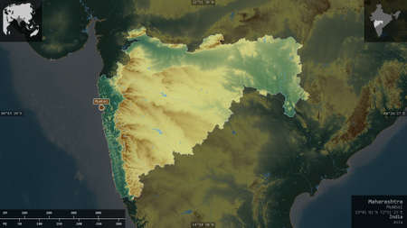 Maharashtra, state of India. Colored relief with lakes and rivers. Shape presented against its country area with informative overlays. 3D rendering