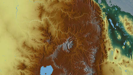 Tigray, state of Ethiopia. Colored relief with lakes and rivers. Shape outlined against its country area. 3D rendering