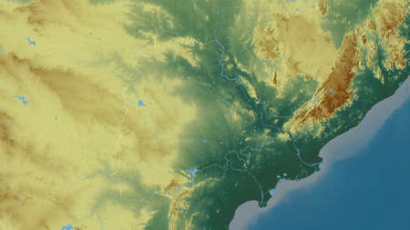 Telangana, state of India. Colored relief with lakes and rivers. Shape outlined against its country area. 3D rendering