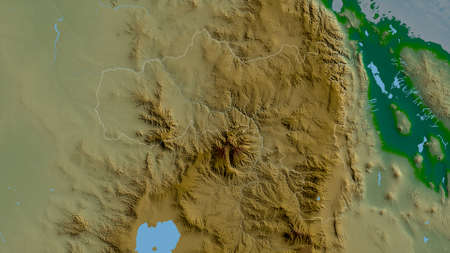 Tigray, state of Ethiopia. Colored shader data with lakes and rivers. Shape outlined against its country area. 3D rendering Standard-Bild
