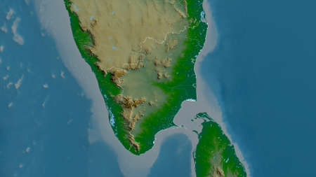 Tamil Nadu, state of India. Colored shader data with lakes and rivers. Shape outlined against its country area. 3D rendering