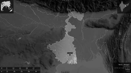 West Bengal, state of India. Grayscaled map with lakes and rivers. Shape presented against its country area with informative overlays. 3D rendering 스톡 콘텐츠