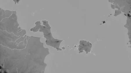 Bangka-Belitung, province of Indonesia. Grayscaled map with lakes and rivers. Shape outlined against its country area. 3D rendering