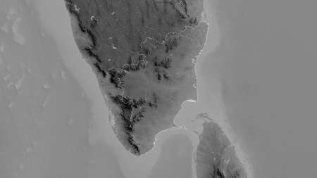 Tamil Nadu, state of India. Grayscaled map with lakes and rivers. Shape outlined against its country area. 3D rendering Stock Photo