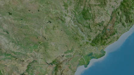 Telangana, state of India. Satellite imagery. Shape outlined against its country area. 3D rendering