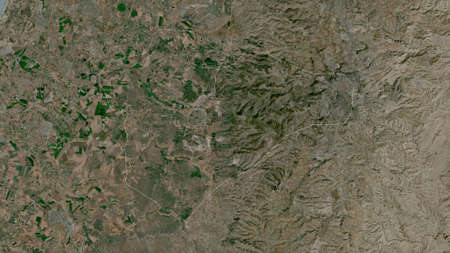 Jerusalem, district of Israel. Satellite imagery. Shape outlined against its country area. 3D rendering