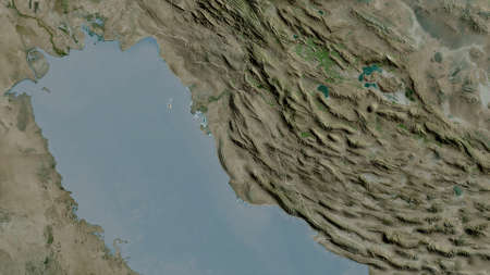 Bushehr, province of Iran. Satellite imagery. Shape outlined against its country area. 3D rendering 版權商用圖片