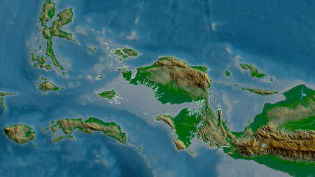 West Papua, province of Indonesia. Colored shader data with lakes and rivers. Shape outlined against its country area. 3D rendering