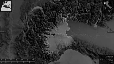 Piemonte, region of Italy. Grayscaled map with lakes and rivers. Shape presented against its country area with informative overlays. 3D rendering Zdjęcie Seryjne