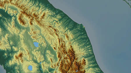 Marche, region of Italy. Colored relief with lakes and rivers. Shape outlined against its country area. 3D rendering