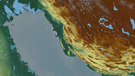 Bushehr, province of Iran. Colored relief with lakes and rivers. Shape outlined against its country area. 3D rendering