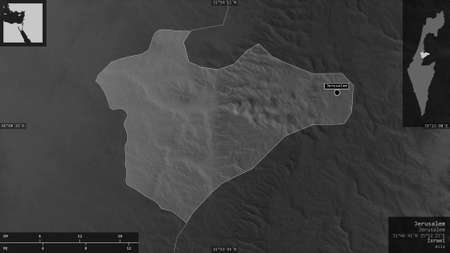 Jerusalem, district of Israel. Grayscaled map with lakes and rivers. Shape presented against its country area with informative overlays. 3D rendering