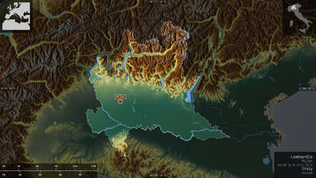 Lombardia, region of Italy. Colored relief with lakes and rivers. Shape presented against its country area with informative overlays. 3D rendering Archivio Fotografico