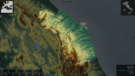 Marche, region of Italy. Colored relief with lakes and rivers. Shape presented against its country area with informative overlays. 3D rendering