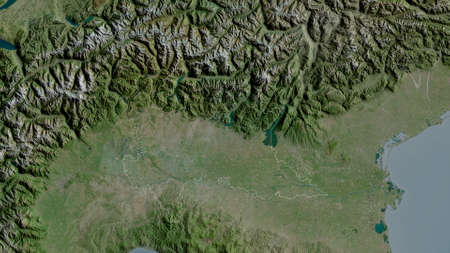 Lombardia, region of Italy. Satellite imagery. Shape outlined against its country area. 3D rendering