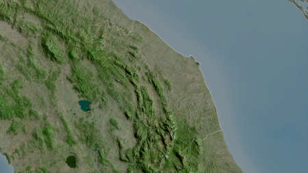 Marche, region of Italy. Satellite imagery. Shape outlined against its country area. 3D rendering