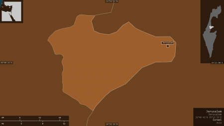 Jerusalem, district of Israel. Patterned solids with lakes and rivers. Shape presented against its country area with informative overlays. 3D rendering