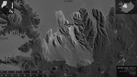 Northland West, region of Iceland. Grayscaled map with lakes and rivers. Shape presented against its country area with informative overlays. 3D rendering Banco de Imagens
