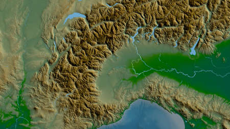 Piemonte, region of Italy. Colored shader data with lakes and rivers. Shape outlined against its country area. 3D rendering