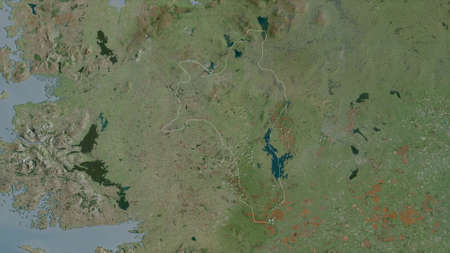 Roscommon, county of Ireland. Satellite imagery. Shape outlined against its country area. 3D rendering Zdjęcie Seryjne