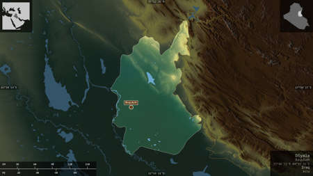 Diyala, province of Iraq. Colored relief with lakes and rivers. Shape presented against its country area with informative overlays. 3D rendering Imagens