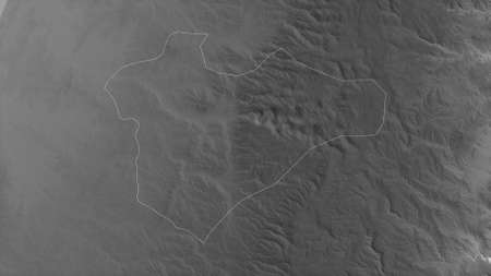 Jerusalem, district of Israel. Grayscaled map with lakes and rivers. Shape outlined against its country area. 3D rendering