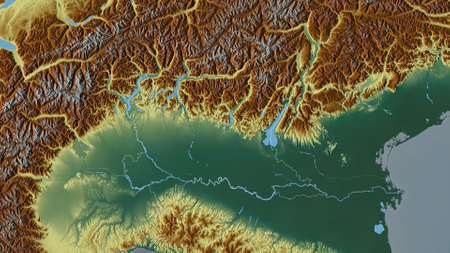 Lombardia, region of Italy. Colored relief with lakes and rivers. Shape outlined against its country area. 3D rendering Stock Photo