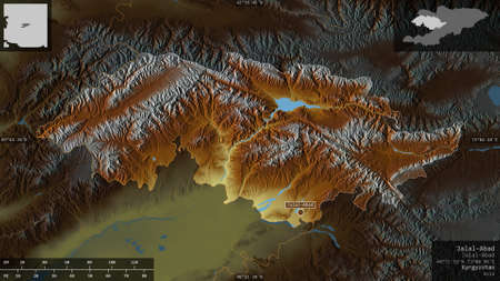 Jalal-Abad, province of Kyrgyzstan. Colored relief with lakes and rivers. Shape presented against its country area with informative overlays. 3D rendering