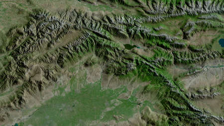 Jalal-Abad, province of Kyrgyzstan. Satellite imagery. Shape outlined against its country area. 3D rendering