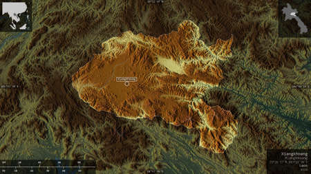 Xiangkhoang, province of Laos. Colored relief with lakes and rivers. Shape presented against its country area with informative overlays. 3D rendering