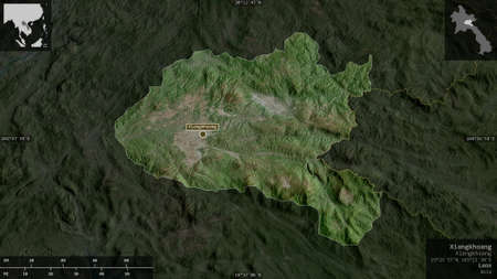 Xiangkhoang, province of Laos. Satellite imagery. Shape presented against its country area with informative overlays. 3D rendering