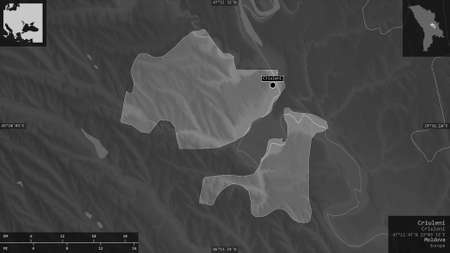 Criuleni, district of Moldova. Grayscaled map with lakes and rivers. Shape presented against its country area with informative overlays. 3D rendering