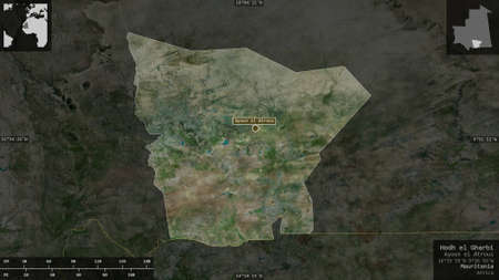 Hodh el Gharbi, region of Mauritania. Satellite imagery. Shape presented against its country area with informative overlays. 3D rendering
