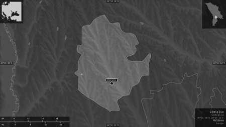CimiÅŸlia, district of Moldova. Grayscaled map with lakes and rivers. Shape presented against its country area with informative overlays. 3D rendering Reklamní fotografie