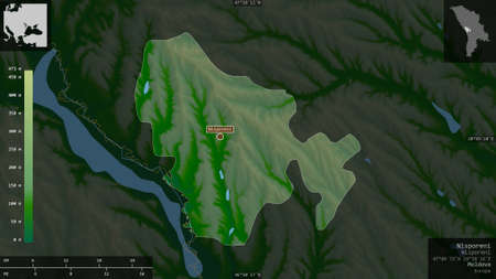 Nisporeni, district of Moldova. Colored shader data with lakes and rivers. Shape presented against its country area with informative overlays. 3D rendering