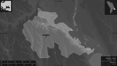 Åžtefan Voda, district of Moldova. Grayscaled map with lakes and rivers. Shape presented against its country area with informative overlays. 3D rendering