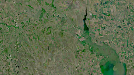 Åžtefan Voda, district of Moldova. Satellite imagery. Shape outlined against its country area. 3D rendering