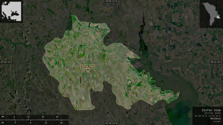 Åžtefan Voda, district of Moldova. Satellite imagery. Shape presented against its country area with informative overlays. 3D rendering