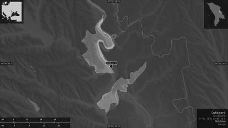 Dubăsari, district of Moldova. Grayscaled map with lakes and rivers. Shape presented against its country area with informative overlays. 3D rendering
