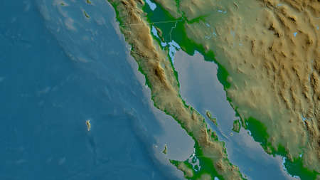 Baja California, state of Mexico. Colored shader data with lakes and rivers. Shape outlined against its country area. 3D rendering