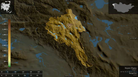 Bayan-Ölgiy, province of Mongolia. Colored shader data with lakes and rivers. Shape presented against its country area with informative overlays. 3D rendering