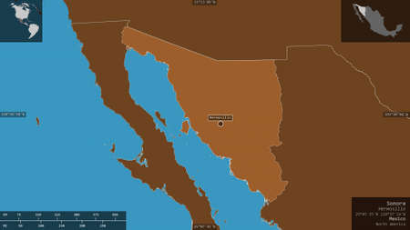 Sonora, state of Mexico. Patterned solids with lakes and rivers. Shape presented against its country area with informative overlays. 3D rendering