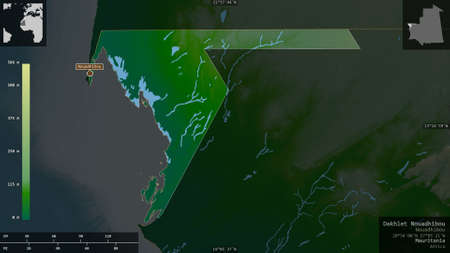 Dakhlet Nouadhibou, region of Mauritania. Colored shader data with lakes and rivers. Shape presented against its country area with informative overlays. 3D rendering