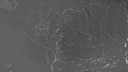 Kidal, region of Mali. Grayscaled map with lakes and rivers. Shape outlined against its country area. 3D rendering