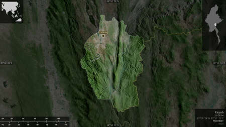 Kayah, state of Myanmar. Satellite imagery. Shape presented against its country area with informative overlays. 3D rendering