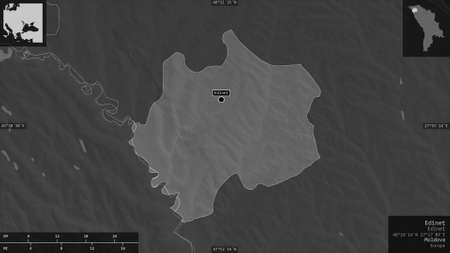 Edineţ, district of Moldova. Grayscaled map with lakes and rivers. Shape presented against its country area with informative overlays. 3D rendering