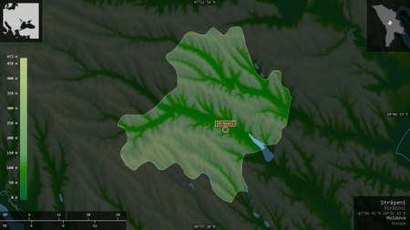 Străşeni, district of Moldova. Colored shader data with lakes and rivers. Shape presented against its country area with informative overlays. 3D rendering