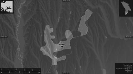 Taraclia, district of Moldova. Grayscaled map with lakes and rivers. Shape presented against its country area with informative overlays. 3D rendering
